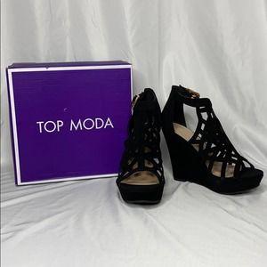 NWB TOP MODA Black Cut Out Wedges
